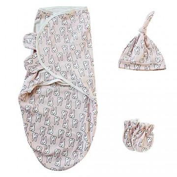 Leikance Baby Pucksack für Neugeborene Anti-Kicking-Schlafsack mit Hut und Handschuhen Baumwolle Wickelset