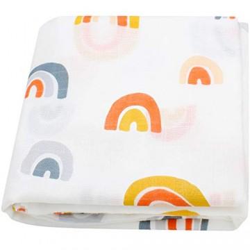 LifeTree weiche Baby Pucktücher für Junge und Mädchen 120x120 cm Regenbogen Design Baby Musselin Swaddle Decke Bambus Baumwolle Aufstoßen Tuch & Kinderwagen Decke
