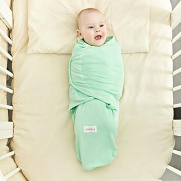 Original smileBaby Pucksack für Babys und Neugeborene Strampelsack in Grün M verstellbarer Klettverschluss