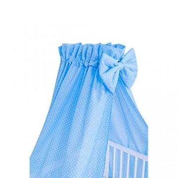 Amilian® Vollstoffhimmel Himmel mit Schleife Betthimmel Pünktchen klein Blau (Vollstoffhimmel mit Himmelstange)