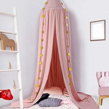 Baby Baldachin Betthimmel Kinder Ceekii Babys Bett Kinderzimmer Bettvorhang Baumwolle Deko Moskitonetz für Prinzessin Spielzelte Babybett & Schlafzimmer Dekoration mit Sternengirlande (Pink)