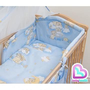 Baby Comfort Bettwäsche-Set mit Betthimmel für Babybett gepolsterter Stoßschutz 180 cm 120 x 60 cm 7-teilig
