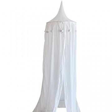 LPxdywlk Kinderbaby Chiffon Hängendes Zelt Runde Pompon Kuppel Netz Bett Baldachin Kinderzimmer Dekoration Weiß