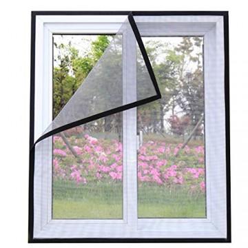 ECYC DIY Fenster Insektenschutz Anti-Moskito-Fenster Moskitonetz unsichtbar mit Magic Sticker (Grau 150x160cm)