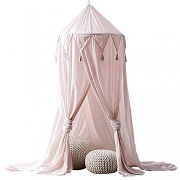 EZSTAX Baby Betthimmel Baldachin Bett Moskitonetz Insektenschutz Säuglinge Bettvorhang Dekoration Rosa
