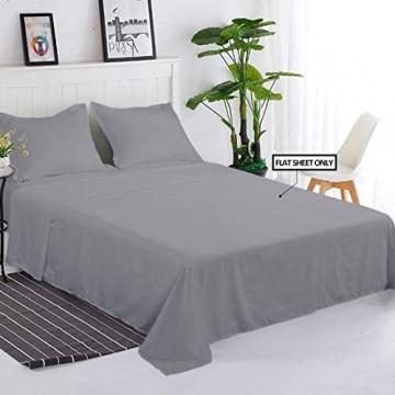 Balichun 6-teiliges Bettlaken-Set Premium-Qualität weich und atmungsaktiv knitterfrei lichtbeständig Bettüberwurf für Hotel und Krankenhaus Doppelbettgröße grau