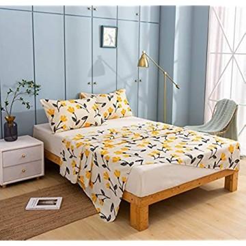DaDa Bedding Spannbettlaken und Bettlaken mit gelbem Fleur – Tulpenblumen floraler botanischer Garten hellbrauner Hintergrund – leuchtend leuchtend mit Kissenbezügen – King Size – 4-teilig