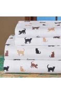 Niedliche Silhouette Katzen-Bettlaken mit Spannbetttuch Bettlaken und zwei Kissenbezügen 4er-Set