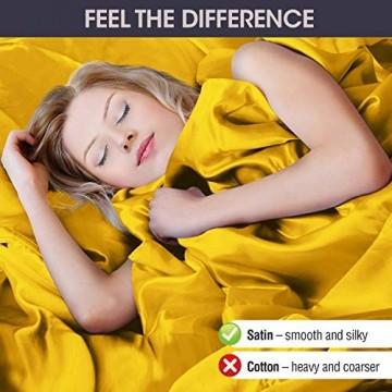 Satin-Bettlaken Queen-Size-Größe (4 Stück 8 Farben) seidiges Satin-Bettwäsche-Set mit 2 Kissenbezügen Satin-Spannbettlaken Gold-Satin-Bettlaken Queen-Size-Satin-Bettlaken