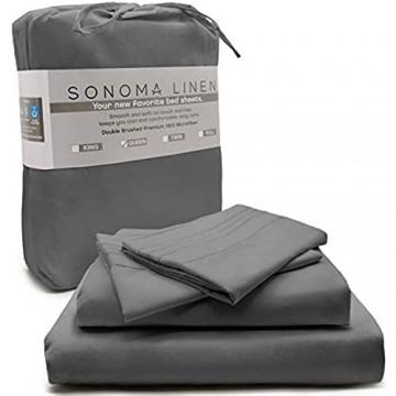 SONOMA LINEN Super weiche King-Size-Bettlaken-Set tiefe Taschen grau 4-teilig Fadenzahl 1800 doppelt gebürstete Mikrofaser knitterfrei fleckenabweisend hypoallergen atmungsaktiv und kühlend