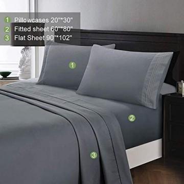 Wonwo Bettwäsche-Set grau Queen-Size-Bettlaken Hotelqualität gebürstete Mikrofaser Fadenzahl 1800 hypoallergen 40 6 cm tiefe Tasche 1 Bettlaken 1 Spannbetttuch 2 Kissenbezüge