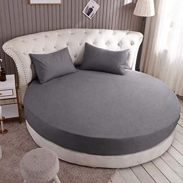 Zabats Runde Bettlaken aus Reiner Baumwolle Einteilige runde Bettdecke aus Baumwolle Vierteilige Bettdecke Hotelmatratze rutschfeste Schutzhülle grau Bettlaken + Kissenbezug mit 2 2 m Durchmesser
