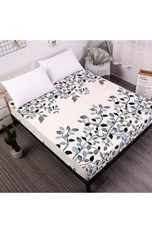 zlzty Bettlaken Mit Gummiband Blaue Blume Bedruckte Bettwäsche Matratzenbezüge Spannbettlaken-Sets Einzelbettbezug Bettzeug @ Leaf_180x200x25cm