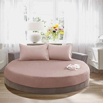 ZYYH Bettlaken Bettwäsche + 2 Kissenbezug , Rundes Bett gestreifte Spannbetttuch romantische einfarbige runde Bettwäsche Zubehör