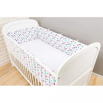 Amilian Bettumrandung für Kinderbett Baby Nest Kopfschutz Nestchen Bettnestchen Baby Kantenschutz Tupfen Bunt 180cm x 30cm (für das Babybett 120x60cm- Kopfschutz)