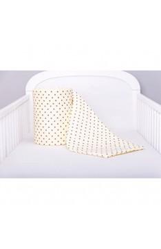 Amilian® Bettumrandung Nest Kopfschutz Nestchen 420x30cm 360x30cm 180x30 cm Bettnestchen Baby Kantenschutz Bettausstattung Stern Ecru Minimini (360x30)