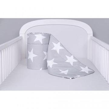 Amilian® Bettumrandung Nest Kopfschutz Nestchen Sternchen MEGA groß Grau Bettnestchen Baby Kantenschutz Bettausstattung (420cm (für das Babybett 140x70cm- rundherum))