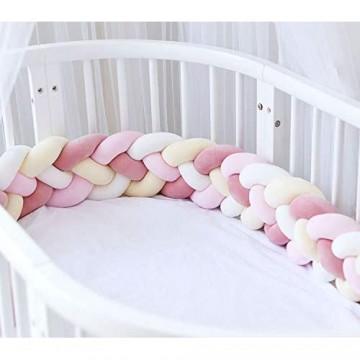 Bettumrandung Baby Nestchen Kinderbett Stoßstange Weben Bettumrandung Kantenschutz Kopfschutz für Babybett Bettausstattung 220cm (Hellrosa + Rosa + Weiß + Gelb)
