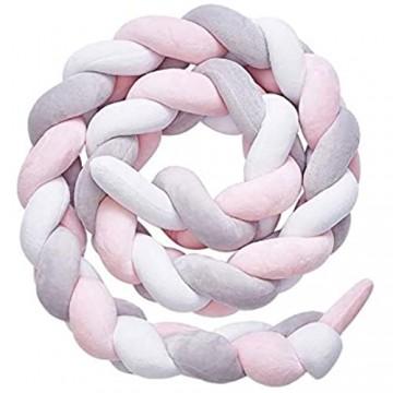LFEWOX Bettumrandung Babybett Länge 5M Baby Nestchen Bettumrandung Weben Geflochtene Stoßfänger Dekoration Für Krippe Kinderbett Kantenschutz (Grau + Weiß + Pink)