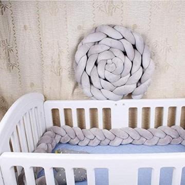 Milopon Bettschlange Baby geflochten Bettumrandung 2M/2.5M/3M BettnestchenBettumrandung Kopfschutz Stoßfänger Dekoration für Krippe Kinderbett Länge