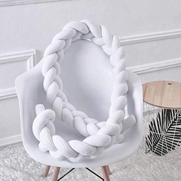 Mooyii Bettumrandung Babybett Baby Nestchen Weben Bettumrandung Geflochten Kinderbett Knotenkissen für Baby Krippe Babybett Kinderbett Kopfschutz Stoßstange (Weiß 200CM)