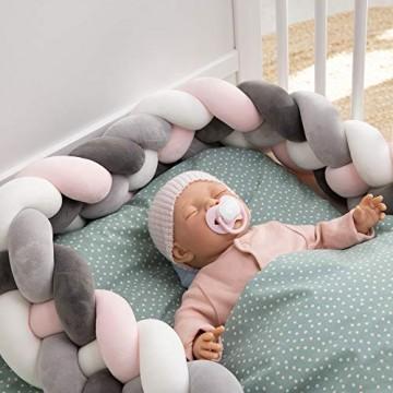 Navaris Bettschlange geflochten 200cm Nestchen Zopf - Babybett Stoßfänger 4 Weben Bettumrandung lang - Kopfschutz Zugluftstopper
