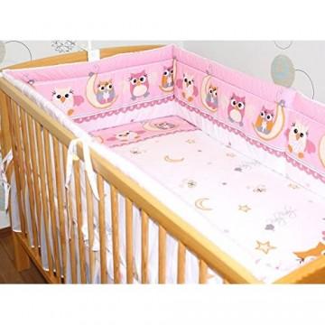 Nestchen Bettumrandung Kopfschutz Für Baby Kind - EULE ROSA - 190cm 360 cm 420cm für Bett 70x140 cm 60x120cm 360 cm