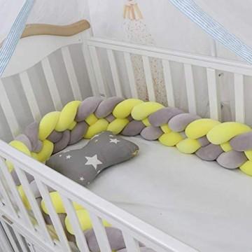 OMGPFR Neugeborene Stoßstange Lang geknotete Zopfkissen Babybett Stoßstange in der Krippe Kinderzimmer Babybett Knoten Kinderzimmer Dekor 4 Zöpfe / 4 Stränge E 360CM