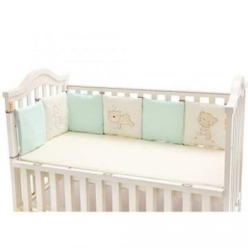 Oyfel Bettumrandung Babybett Kopfschutz 6 Stück Baby Nestchen Baumwolle Stoßfänger Dekoration für Krippe Kinderbett