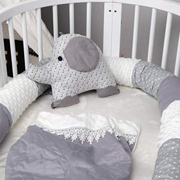 OZCOWBABY Bettschlange Baby bett soft Langer StilNähen Baumwolle Waschbar Bettumrandung für Krippe Kinderbett Keil- und Stützkissen 250cm / 98 42 Zoll Grau