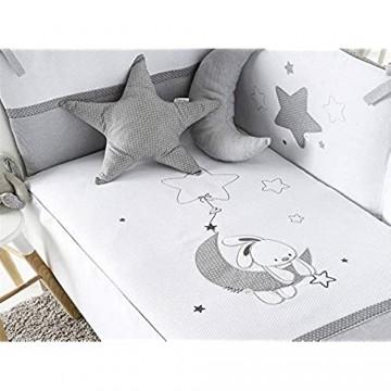 pirulos 21013219Steppdecke Nestchen und Kissen Motiv Mond 62x 125cm weiß und grau