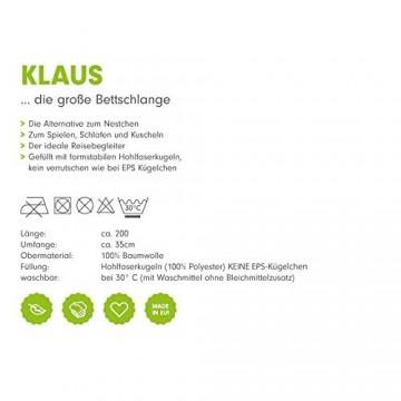 Priebes Klaus die große Bettschlange | Stillkissen Länge 200 cm | Bettnestchen fürs Babybett | Lagerungskissen | Seitenschläferkissen | Bezug 100% Baumwolle