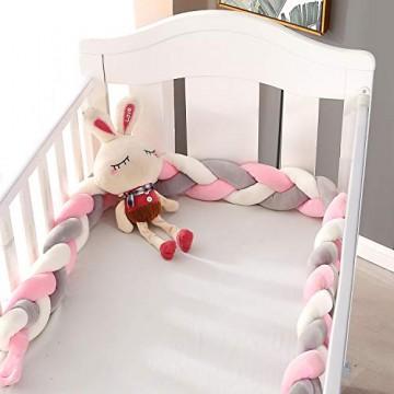 VIVILINEN 2M Bettumrandung Baby Nestchen Geflochten Bettschlange Babybett Stoßstange Kantenschutz Kopfschutz Dekoration für Krippe Kinderbett (Grau&Rosa)
