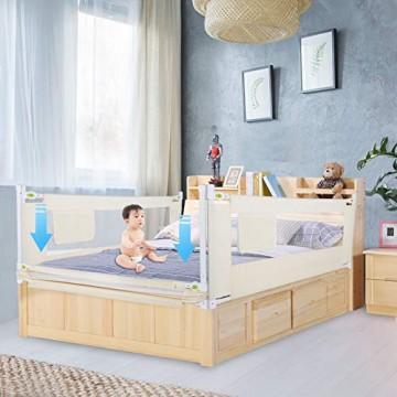 Bettgitter gegen Herausfallen vertikal höhenverstellbar zusammenklappbar für die Sicherheit von Kindern und Babys (1 5 m)