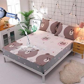 GmanXier Bed Cover,wasserdichte Spannbetttücher feuchtigkeitsbeständige Tagesdecke für Kinder Matratzenbezug einfacher Druck geeignet für EIN Doppelbett-E_135 * 200 cm