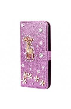 Miagon Hülle Glitzer für Samsung Galaxy M10 Luxus Diamant Strass Hirsch PU Leder Handyhülle Ständer Funktion Schutzhülle Brieftasche Cover Lila