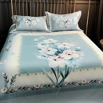Romantische Pflanzenblumen Eis Seide Matte Rutschfeste Faltbare Dreiteilige Matte Größe 250 * 250 Cm