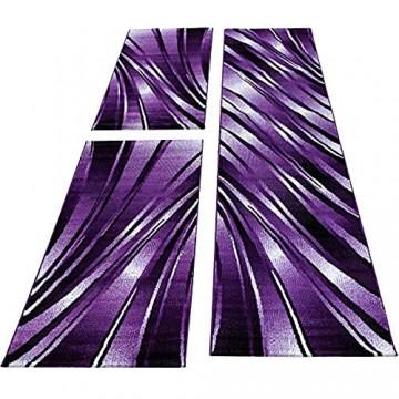 Bettumrandung Läufer Teppich Abstrakt Wellen Muster Schwarz Lila Läuferset 3 TLG Maße:2 x 80 x 150 cm & 1 x 80 x 300 cm