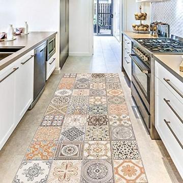 CREARREDA Läufer Teppich Küchenteppich Persian Tiles 50x120 Isolierend feuerhemmend Kratzfest hypoallergen leicht zu waschender Vinyl Teppich. Komplett in Italien hergestellt