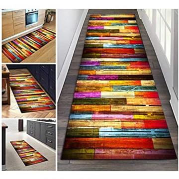 Filjr Teppich Läufer Flur Bunt rutschfest Lang 60x300cm Vintage for Küche Schlafzimmer Wohnzimmer TQDTX Polyester Verblassen Nicht Anpassbar (Color : Color#1)