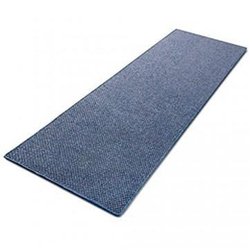 Floordirekt 1A Teppich-Läufer auf Maß gekettelt | Ponto blau | Verschiedene Größen (80x300 cm)