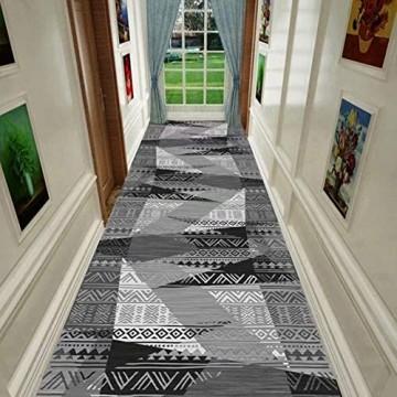 Flur Teppich Läufer Grau/Schwarzer Läuferteppich für Flur Rutschfester Waschbarer Eingangsteppich Schmale Bodenmatte für Die Haustür Eingang Treppe Geometrisches Design (Size : W100cm x L400cm)