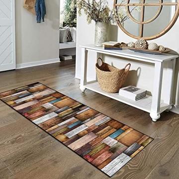 Qonei Teppich Läufer Flur Küche Bunt rutschfest 80×250 Vintage Läufer Teppich Waschbar Chemischer Faser Geometrisch Gemusterter Anpassbar (Color : #A Size : 80×250cm)