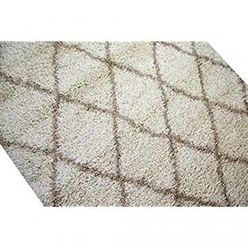 CARPETIA Shaggy Teppich Wohnzimmerteppich Hochflor Langflor Rauten Creme beige Größe 120x170 cm