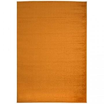 Carpeto Rugs Modern Teppich Einfarbig Muster - Flauschige Flachflor Teppiche für Wohnzimmer Schlafzimmer Kinderzimmer - Kurzflor in Versch. Größen Pastell Farben Orange 120 x 170 cm