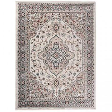 Carpeto Traditioneller Orientalischer Teppich - Kurzflor - Weicher Teppich Perser für Wohnzimmer Schlafzimmer Esszimmer - ÖKO-TEX Zertifiziert - AYLA - 250 x 350 cm - Creme