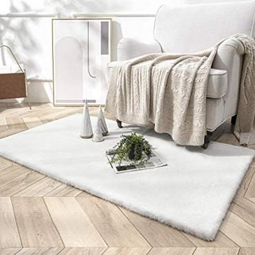 HETOOSHI Weicher Kunstkaninchenfell-Teppich Plüsch Teppich Decke aus Kunstfell Geeignet für Wohnzimmer Teppiche Flauschig Fell Optik Gemütliches Schaffell Bettvorleger Sofa Matte (Weiß 60 x 90 cm)
