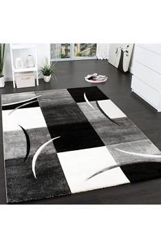 Paco Home Designer Teppich mit Konturenschnitt Muster Kariert in Schwarz Weiss Grau Grösse:200x290 cm