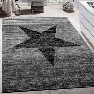 Paco Home Designer Teppich Stern Muster Modern Trendig Kurzflor Meliert In Grau Schwarz Grösse:160x220 cm