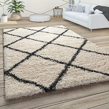 Paco Home Hochflor Teppich Weicher Wohnzimmer Shaggy Skandinavischer Stil m. Rautenmuster Grösse:120x170 cm Farbe:Creme